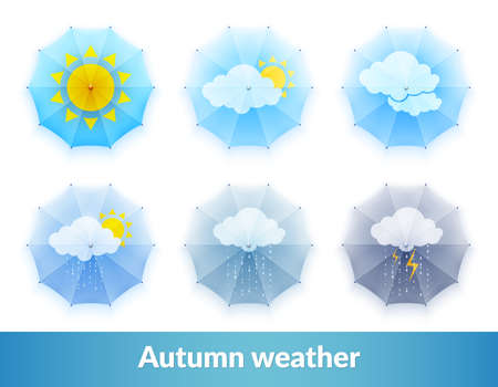 Set of icons on the theme of changing weather conditions. Autumn weather. Vector illustration on white background. Ilustrace
