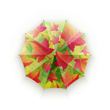Bright autumn umbrella on a white background. Protection against rain. Walks in the open air. Pattern of autumn leaves.