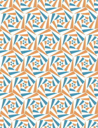 Seamless pattern from geometric shapes. Optical illusion of motion.