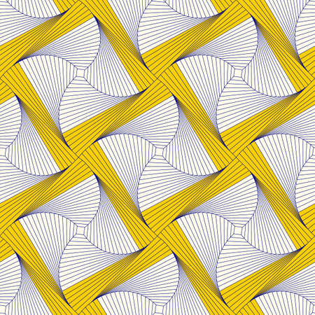 Seamless pattern from squares. Optical illusion of rotation.