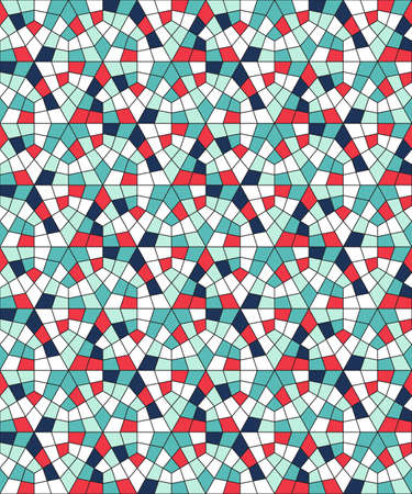 Seamless pattern from geometric shapes. Stained glass from polygons.