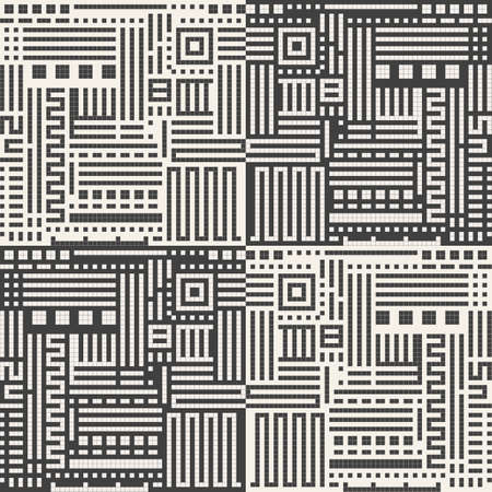 Abstract seamless background of rectangular shapes. Vector geometric lines pattern. Pattern for textiles and packaging. Modern technology in everyday life. Geometric mosaic. Straight lines and labyrinths. Ilustração