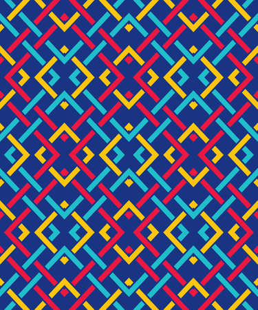 Seamless pattern with many intersecting lines and corners. Chain of geometric shapes Illustration
