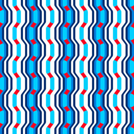 Abstract seamless pattern with waves and curves of geometric shapes. Bright colors.