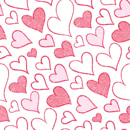 Seamless pattern with hearts of different sizes. Imitation of the texture of a warm fabric. A pattern for expressing feelings. Design for fabric and gift wrapping.