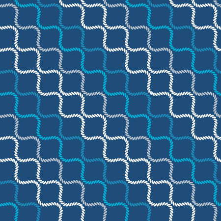 Seamless pattern with wavy forms. Curved threads and ropes. Optical illusion of motion. Pattern for fabrics and packaging. Vettoriali