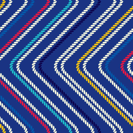 Seamless pattern with straight angles. Curved threads and ropes. Optical illusion of motion.
