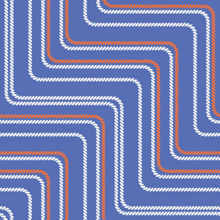 Seamless pattern with straight angles. Curved threads and ropes. Optical illusion of motion. Pattern for fabrics and packaging.
