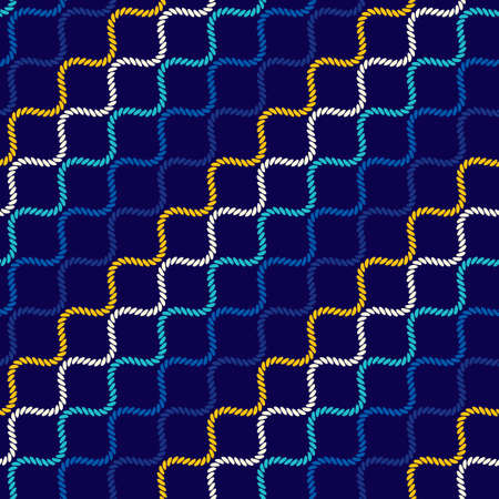 Seamless pattern with wavy forms. Curved threads and ropes. Optical illusion of motion. Pattern for fabrics and packaging.  イラスト・ベクター素材
