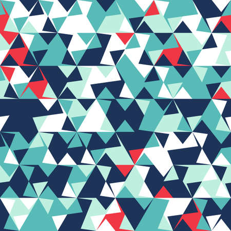 Abstract seamless pattern of corners and triangles. Optical illusion of movement. Bright youth pattern. Ilustração Vetorial