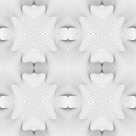 Abstract seamless pattern of undulating shapes. The illusion of distortion of space and movement of lines. Patterns for your creative design. Stock Illustratie