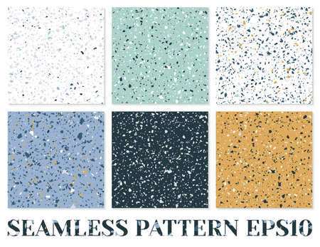 Terrazzo flooring vector seamless pattern. Texture of classic italian type of floor composed of natural stone.