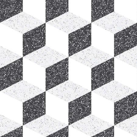 Piastrelle in pietra naturale. Piccola trama geometrica delle pietre e dei ciottoli trattati. Tonalità di colori rigorose, contrastanti, monocromatiche. Modello senza cuciture per il pavimento e le pareti del bagno. Vettoriali