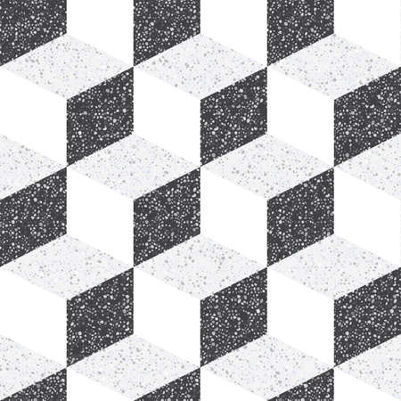 Tiles made of natural stone. Small geometric texture of the treated stones and pebbles. Strict, contrast, monochrome shades of colors. Seamless pattern for the floor and walls in the bathroom. Ilustração Vetorial