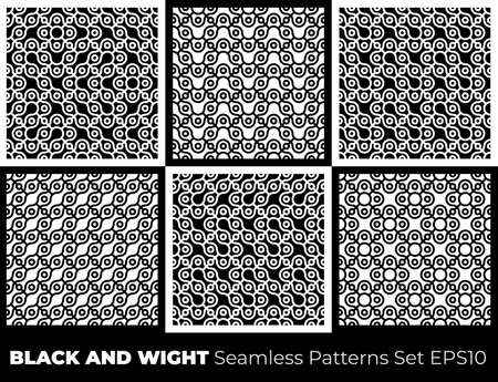 Abstract seamless pattern of circles and wavy lines. The combination of various forms.  イラスト・ベクター素材