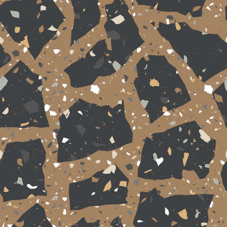 Tiles made of natural stone. Small geometric texture of the treated stones and pebbles. Strict, contrast, bright shades of colors. Seamless pattern for the floor and walls in the bathroom.  イラスト・ベクター素材