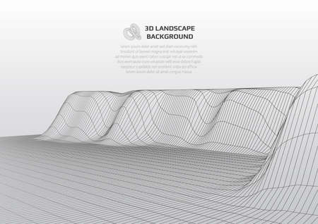 Abstract background with low poly landscape. The space of the virtual world. 일러스트