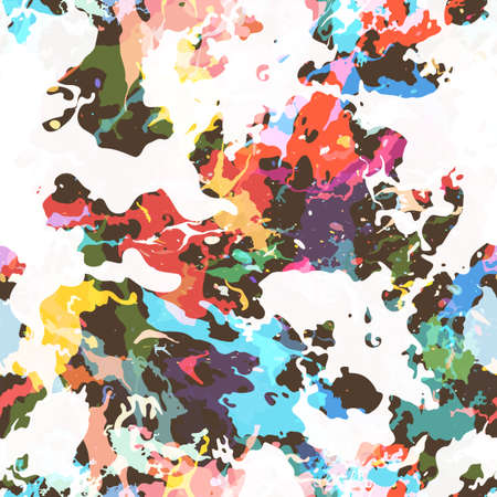Colorful paint splashes. Seamless pattern with spots and divorces. Vector abstract background for your design.