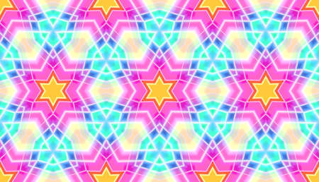 Abstract seamless mosaic with kaleidoscopes. Psychedelic seamless patterns.