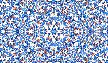 Abstract seamless pattern with kaleidoscope. Symmetric patterns of reflections of figures. Optical illusion of space distortion.
