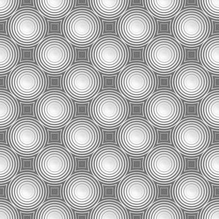 Nahtloses Muster der Kreise. Geordnete Formen erzeugen einen hypnotischen Effekt. Pulsieren von geometrischen Formen.