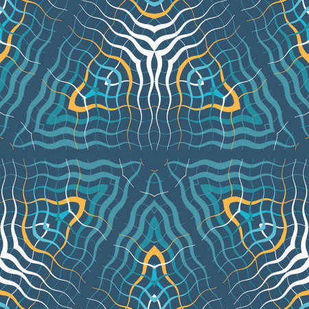 Abstract wavy lines seamless pattern. Periodic oscillation of geometric shapes. Pattern for packaging and textiles. Ilustracja