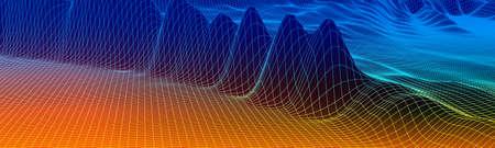 Abstract vector wireframe landscape background. Cyberspace grid. Illusztráció