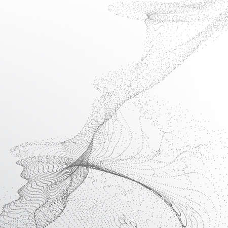 Abstract background with many particles. Optical illusion of movement. Ilustrace