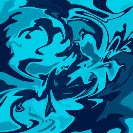 Dark blue stains of paint. Boiling water in the ocean. The movement of geometric shapes. Ilustrace