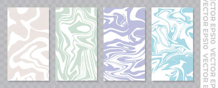 Set of banners for stories. Stains of paint or water. Calm elegant color palette. Stock vector illustration.
