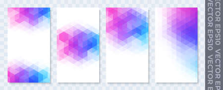 Set of banners for stories. Geometric texture from triangles. Bright fun colors. Stock vector illustration. Ilustrace