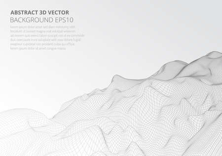 Modeling virtual reality. Abstract 3D image of mountains, hills or the bottom of the ocean. Ilustrace