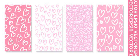 Set of banners for socail networks. Design for valentines day. Ilustrace
