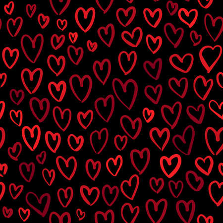 Romantic seamless pattern with cute images of red hearts on a dark background. The style of childrens drawing. Ilustrace