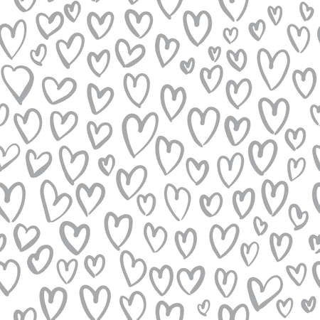 Romantic seamless pattern with cute images of hearts on a white background. The style of childrens drawing. Ilustrace