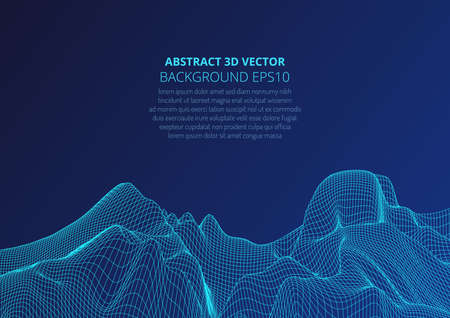 Modeling virtual reality. Abstract 3D image of mountains, hills or the bottom of the ocean. Optical illusion of distortion of space. Copy space for text. Stock vector illustration.