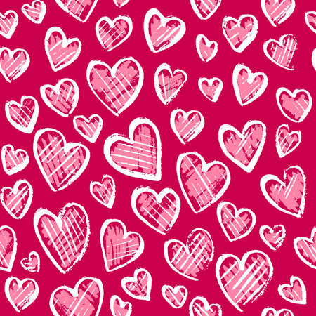 Romantic seamless pattern with cute images of hearts on a pink background. The style of childrens drawing. Expression of feelings of love and sympathy. Pattern design for valentines day. Stock vector illustration. Ilustrace