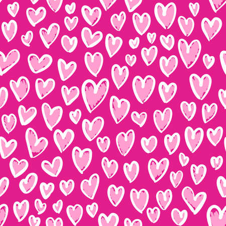Romantic seamless pattern with cute images of hearts on a pink background. The style of childrens drawing.
