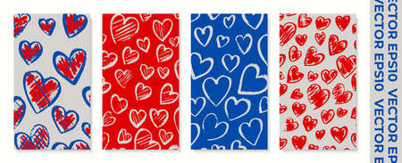 Set of banners for socail networks. Can be used for website, mobile app, poster, flyer, coupon, card, smartphone. Design for valentines day. The style of childrens drawing. Stock vector illustration.