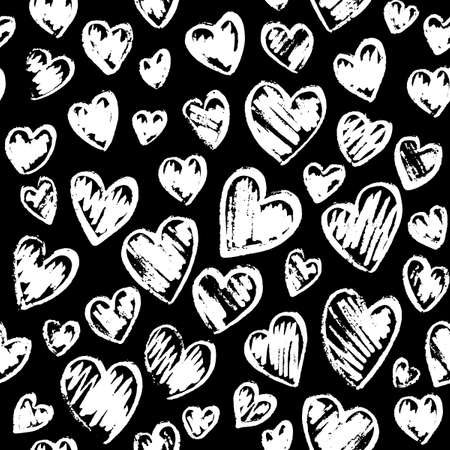 Romantic seamless pattern with cute images of hearts on a black background. Chalk drawing on a school blackboard. Expression of feelings of love and sympathy. Pattern design for valentines day. Stock vector illustration. Ilustrace