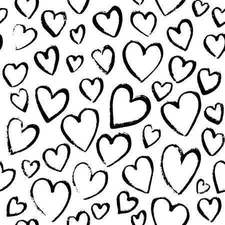 Romantic seamless pattern with cute images of hearts. Charcoal drawing on a white sheet.