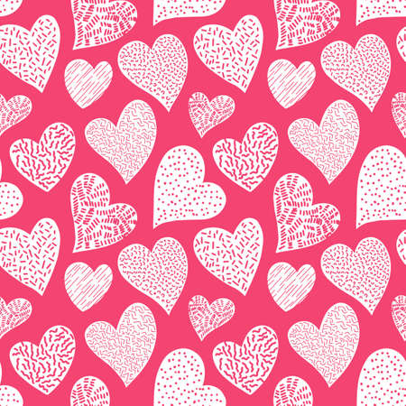 Romantic seamless pattern with cute images of hearts on a pink background. The style of childrens drawing. Pattern design for valentines day. Stock vector illustration.