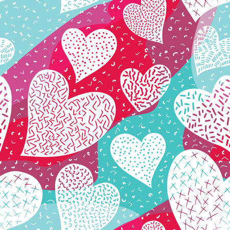 Romantic seamless pattern with cute images of hearts on a bright. The style of childrens drawing. Pattern design for valentines day. Stock vector illustration.