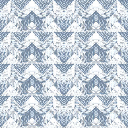 Abstract seamless pattern of geometric shapes with texture. Optical illusion of the volume and depth of the image.