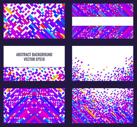 Set of abstract backgrounds for flyers and business cards. Bright geometric pattern.