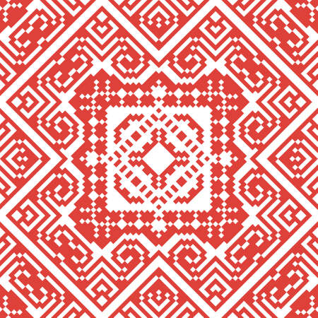 Seamless pattern in ethical style. The motif is made in the technique of pixel art.