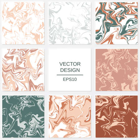 Set of abstract backgrounds in marble style. Elements for design of packaging or invitations.  イラスト・ベクター素材