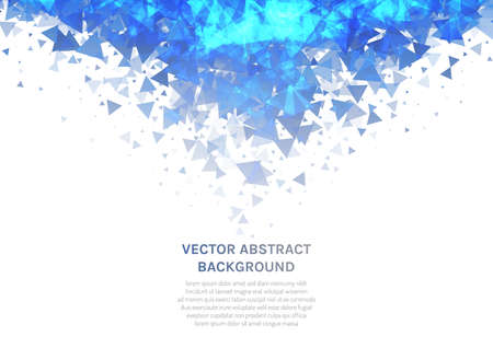 Vector abstract background with a texture of triangles. Geometric dance of figures in the air. Flashes of neon ice floes. Space for text.