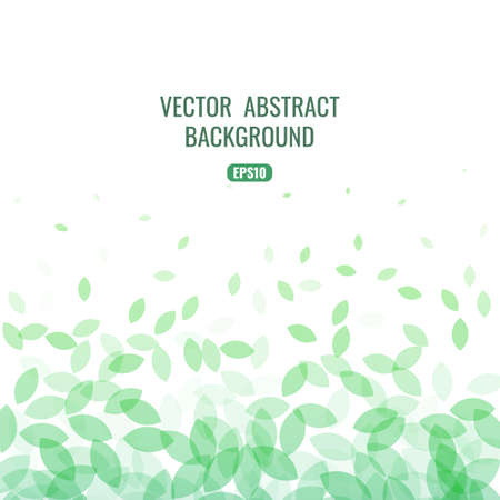 Abstract background with flying shapes in the shape of leaves. Element for your design on the theme of ecology and useful products. Stock vector illustration.