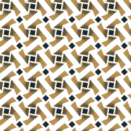 Abstract seamless pattern of rotating geometric shapes with dots texture. Ilustração